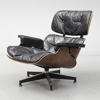 A 'Lounge chair' by Charles & Ray Eames, Herman Miller, 1960's.