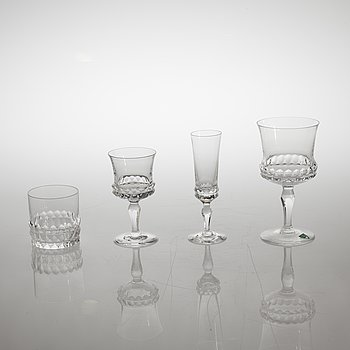 "A glass tableware set of 43 pcs, ""Silvia"", desined by Ingeborg Lundin for Orrefors."