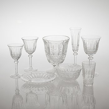 "A glass tableware collection of 61 pcs, ""Tommy"" by Saint-Louis, France, late 20th century."