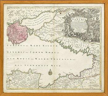 KARTA - SVARTA HAVET, Tobias Conrad Lotter, 1769, handkolorerat kopparstick.