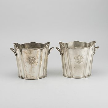 A pair of silver plated wine coolers, 20th century.