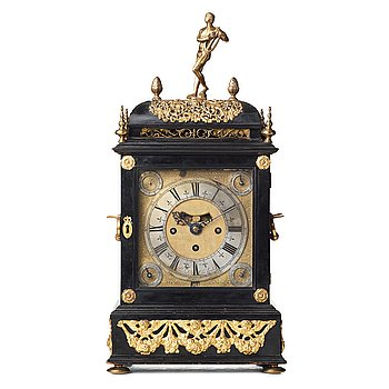 130. Claudius du Chesne musical table clock (clockmaker in London 1693-1730), circa 1705, Queen Anne.