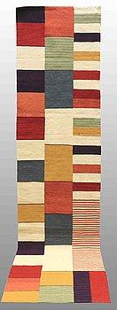 A RUNNER, flat weave, around 338 x 81 cm.