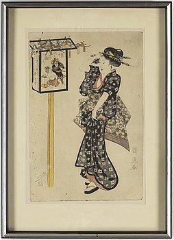 UTAGAWA KUNINAO (1795–1854), färg träsnitt. Japan, 1800-tal.