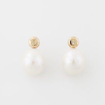 A pair of cultured pearl and princess cut diamond earrings.