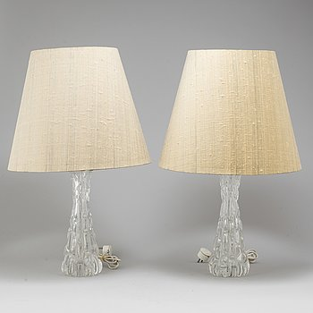 CARL FAGERLUND, a pair of glass table lamps, Orrefors.