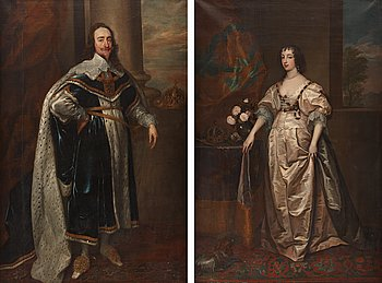 360. Antonis van Dyck Follower of, King Charles I of England in Robes of State (1600-1649) & Queen Henrietta Maria of England (1609-1669).