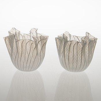 The fazzoletto (handkerchief) glass vases, Fulvio Bianconi and Paolo Venini. Venini Murano Italia, the mid-20th c.