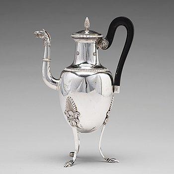 180. A Swedish 19th century silver coffee-pot, mark of Adolf Zethelius, Stockholm 1824.