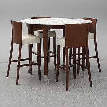 """PHILIPPE STARCK, """"Neoz"""" matgrupp, marmorbord 4 stolar."""