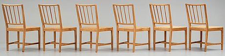 Josef frank, a set of six elm and rattan dining chairs, model 800.