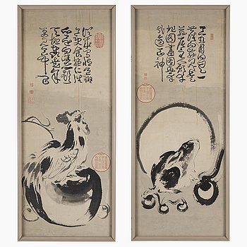 UNIDENTIFIED ARTIST, two paintings, ink and color on paper. Japan, 19th century.