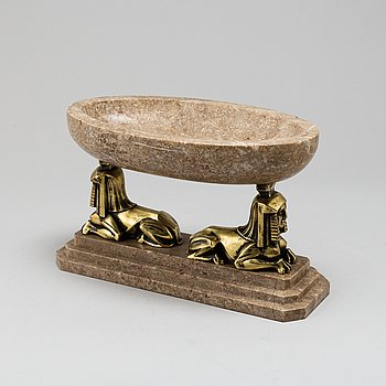 A 1930s art déco bronze and marble bowl.
