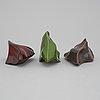 Stina ekman, väggskulpturer, 3 st, keramik, signerade.
