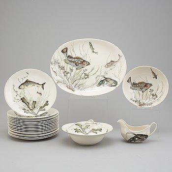 """FISKSERVIS, 21 delar, flintgods, """"Fish"""", Johnson Bros, England."""