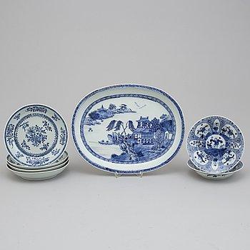 SERVERINGSFAT samt FAT (4+2) stycken, kompaniporslin. Qingdynastin, 1700-tal.