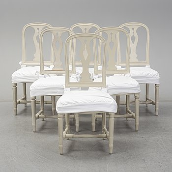 "A set of six ""Hallunda"" chairs, gustavian style, IKEA, late 20th century."