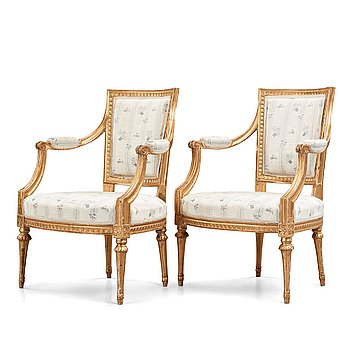 10. Two matched Gustavian late 18th century armchairs.