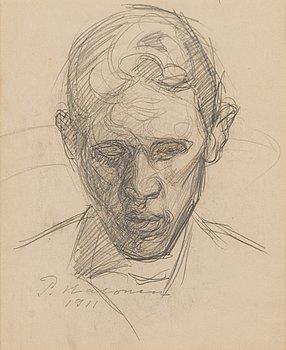 PEKKA HALONEN, blyertsteckning, signerad och daterad 1911.