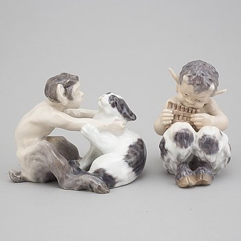 CHRISTIAN THOMSEN, bland annat, figuriner, två stycken, porslin, Royal Copenhagen.