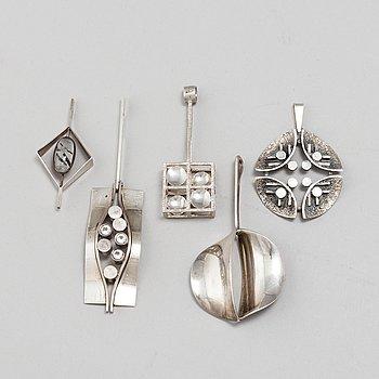 5 silver pendants, among others Alton signed KE Palmberg, Falköping 1974.
