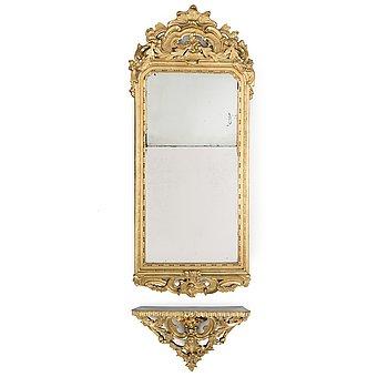 A Swedish Rococo 18th century mirror by Nils Meunier (master in Stockholm 1754-1797).