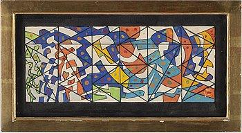 LENNART RODHE, akvarell med täckvitt, signerad och daterad 1955.