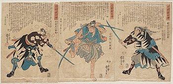 "UTAGAWA KUNIYOSHI (1797/98-1861), triptych, Japan, ""Stories of the True Loyalty of the Faithful Samurai""."