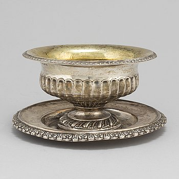 A parcel gilt sauce bowl by Johan Boye from Stockholm 1838.