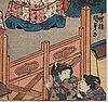 Utagawa kunisada, also known as toyokuni iii (1786 1864), triptych, color woodblock print. japan, 'the tale of genji'