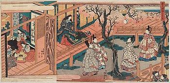UTAGAWA KUNISADA, also known as Toyokuni III (1786-1864), triptych, color woodblock print. Japan, 'The Tale of Genji'.