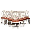 Ten matched gustavian late 18th century chairs.