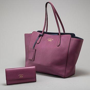 GUCCI, väska samt plånbok.