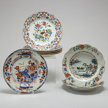 Eight famille rose plates, Qing dynasty, 18th century.
