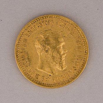 GULDMYNT, 5 rubel, Alexander III, 1890, Ryssland.