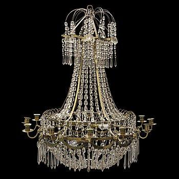 LJUSKRONA, för tretton ljus, sengustaviansk stil, omkring år 1900.