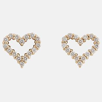 Tiffany ett par hjärtörhängen 18K roséguld med runda briljantslipade diamanter.