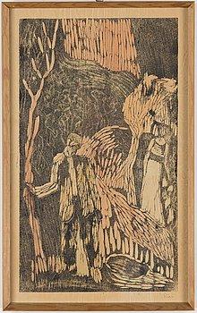 JOHANNES RIAN, woodcut print, signed Rian.