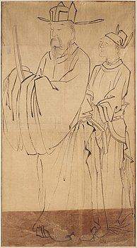 OKÄND KONSTNÄR, tusch och färg på papper. Japan, 1800-tal.