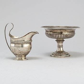 A Swedish 19th century silver bowl and a Danish 19th century silver milk-jug.