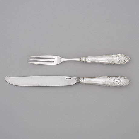 A swedish 18th century 36 piece table cutlery, mark of carl gideon renander, stockholm 1792.