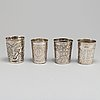 Four russian 18th century silver beakers.