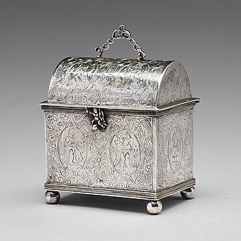 A Dutch silver wedding casket / knottekistje, pseudo marks.