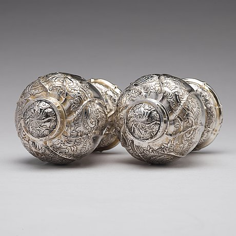 A pair of russian 18th century silver tea-caddies, unidentified makers mark, moscow.