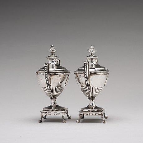 A pair of swedish 18th century silver sugar-bowls and covers, mark of johan ekholm, stockholm 1792.