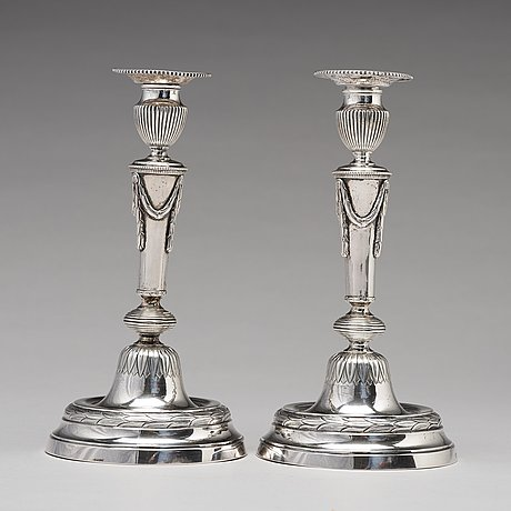 A pair of swedish 18th century silver candlesticks, mark of olof yttraeus, uppsala 1785.