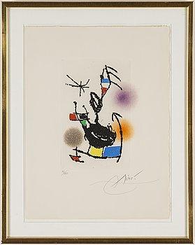 JOAN MIRÓ, färgetsning och akvatint, 1976, signerad med blyerts och numrerad 83/120.