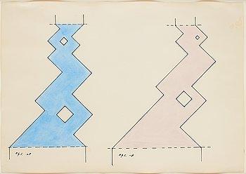 OTTO G CARLSUND, akvarell och tusch, signerad, utförd 1948.