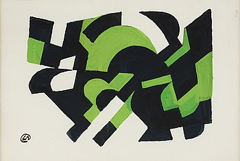 LENNART RODHE, gouache on paper, signed with monogram and signed dated 1955 on verso.