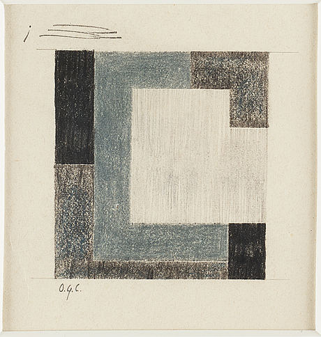 Otto g carlsund, chalk and pencil, signed, executed in 1945.